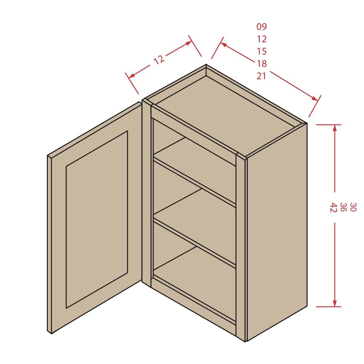 Single Door Wall Cabinets 18w30h12d Galaxy Cabinets